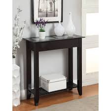 decor immaculate foyer table in dark wood glass top rectangle