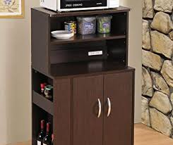 kitchen microwave cart with spice rack and electrical socket