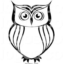 royalty free vector logo of a simple black and white owl by vector