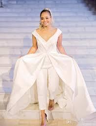 white jumpsuit wedding discount 2017 jumpsuit wedding dresses white satin