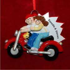 on motorcycle family ornaments personalized by