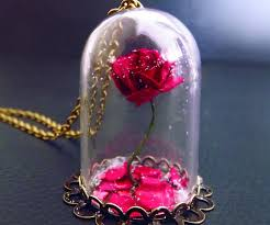 rose glass necklace images Beauty the beast rose vial necklace jpg