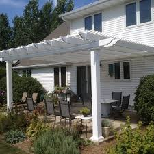 10 X 10 Pergola by Attached 20 U0027 X 10 U0027 Pergola Kit White Vinyl W Aluminum Frame 7