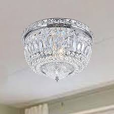 Crystal And Chrome Chandelier Elisa Chrome And Crystal Flushmount Chandelier Amazon Com