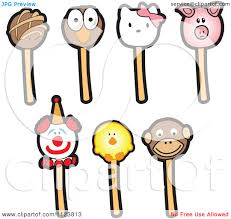 cartoon of clown and animal cake pops royalty free vector