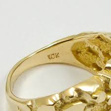 large gold ring necklace images New large 10k yellow gold men 39 s nugget ring 6 2 grams size 11 JPG
