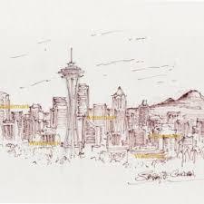 seattle skyline pen u0026 inks u2013 condren galleries ltd