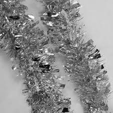 tinsel garland 2m 6 5ft deluxe thick chunky wide silver shiny christmas tree