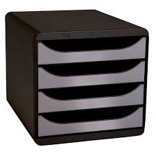 bloc de classement bureau exacompta big box 4 tiroirs noir argent module de classement