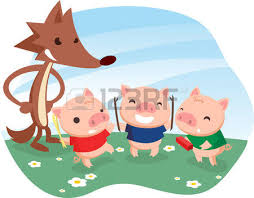 pigs fable cartoon wolf royalty free cliparts