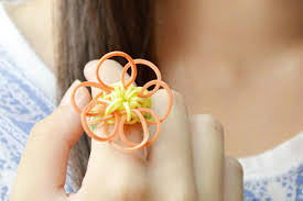 rubber bands rings images Kids craft on how to make a sunflower rubber band ring with loom jpg
