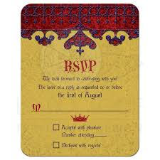 Rsvp Invitation Card Gold Purple Red Royal Medieval Wedding Reply Card