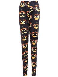plus size halloween pumpkin print high waist leggings black xl