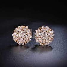 earrings gold design high quality flowers design big stud cubic zircon