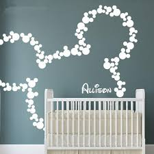 Wall Decals For Nursery Mickey Mouse Wall Stickers Personalized Baby Name Minnie Mouse