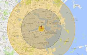 Map Radius How Much Of Boston Would Be Destroyed By Nuclear War