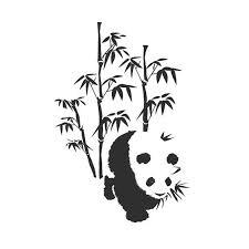 black ink panda and bamboo tree tattoo design tattooimages biz