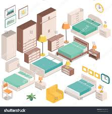 Furniture For Bedroom Furniture Bedroom Isometric Style Beds Bedside Stock Vector
