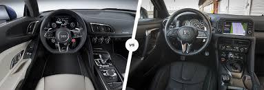 nissan gtr vs lamborghini audi r8 vs nissan gt r supercar comparison carwow
