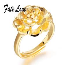 finger ring designs for luxury fashioin gold plated ring big flower design finger ring