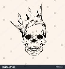hand drawn sketch skull crown tattoo stock vector 275477435