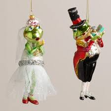 glass frog groom ornaments set of 2 world market