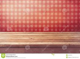 Interior Wallpaper Empty Wooden Deck Table Over Checked Red Wallpaper Vintage