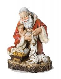 kneeling santa with baby jesus and statue 11 5 inch from