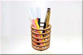 Office Desk Pen Holder by Wooden Pen Pencil Holder U201cround U201d Desk Organizer Wood Desk