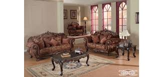 Leather And Fabric Living Room Sets Cherry Trim Style Living Room Set 681