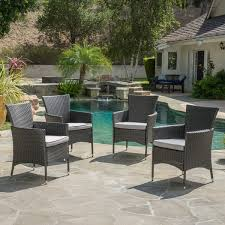 malta outdoor wicker dining chair with cushions set of 4 by