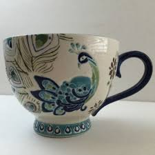 dutch wax hand painted ceramic peacock coffee tea cup mug with tea