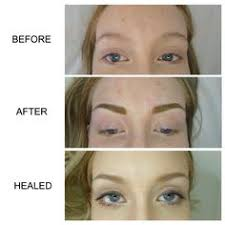 eyebrow feather tattoo uk picture sequence showing healing process of powder mist brows on top