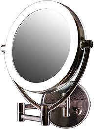 wall mounted makeup mirror with lighted battery amazon com ovente led lighted wall mount makeup mirror 7 5 inch