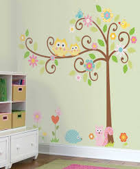 awesome wall decal for kids bedrooms cheerful animals themed wall owl themed wall decals for kids bedrooms trees birds flowers porcupine spectacular stickers awesome wall decal