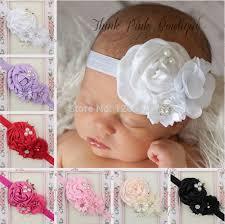 girl hair accessories elastic headbands with pearl flower baby girl hair accessories