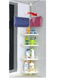 Telescopic Bathroom Shelves Telescopic Bathroom Caddy 4 Tier Adjustable Telescopic Corner