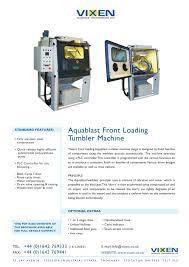 aquablast front loading tumbler machine vixen pdf catalogue