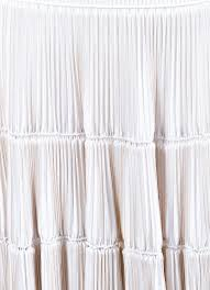 Accordion Curtain Alaia White Tan Trim Accordion Pleated Knit Sleeveless Dress