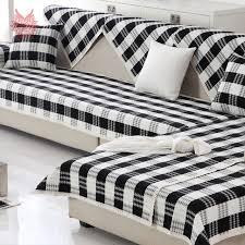housse canapé noir noir blanc plaid tissage coton housse de canapé coupe housses