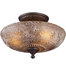Semi Flush Mount Elk Lighting Norwich Oiled Bronze Incandescent Semi Flush Mount