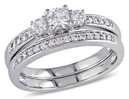 wedding band set three diamond 1 2 carat ctw engagement ring and wedding