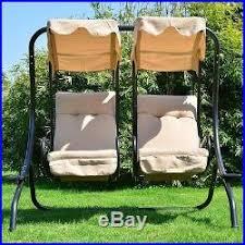 outdoor steel swing chair double hanging garden furniture canopy