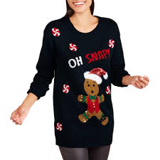 allison womens gingerbread oh snap sweater