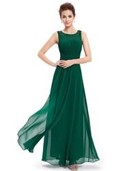 emerald green empire waist chiffon bridesmaid dresses with lace