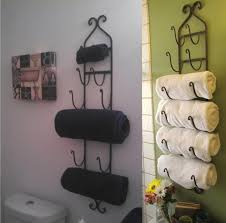 Ideas For Bathroom Storage In Small Bathrooms by Bathroom Sensational Black Iron Wall Mounted Towel Storage With