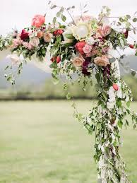 flower arch colorful rustic chic crimson wedding charlottesville arch and