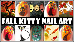 fall nail designs fall kitty animal nail art tutorial halloween