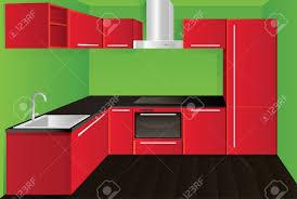 original modern red kitchen design royalty free cliparts vectors