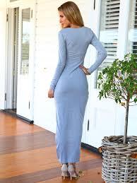 deep v neck split irregular casual long sleeved dress